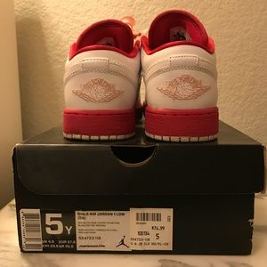 White and pink Jordan 1s lowtop
